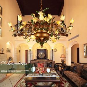 European Style Retro Iron Gold Tulip Glaze Shade 30 Lights LED Chandeliers Energy Saving