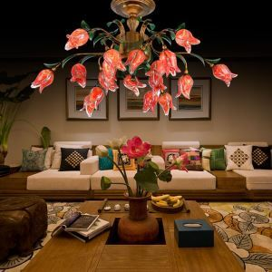 European Style Retro Iron Red Tulip Glaze Shade 18 Lights LED Flush Mounts Energy Saving