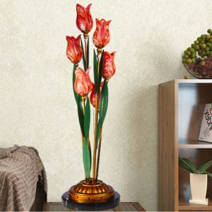 European Style Retro Iron Red Tulip Glaze Shade 6 Lights LED Table Lamp Energy Saving