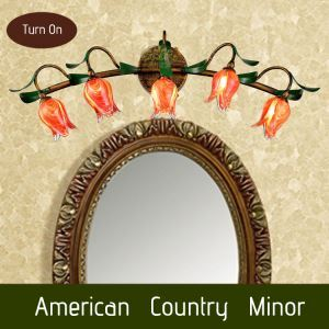 European Style Retro Iron Red Tulip Glaze Shade 5 Lights LED Wall Light Energy Saving