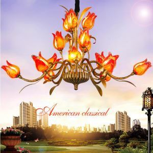 European Style Retro Iron Red/Gold/White Tulip Glaze Shade 15 Lights LED Chandeliers Energy Saving