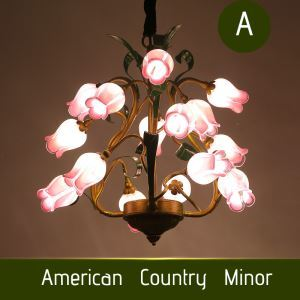 European Style Retro Iron Purple-red/White Rose Glaze Shade 15 Lights LED Chandeliers Energy Saving
