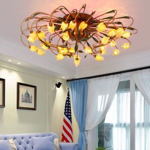 European Style Retro Iron Gold Tulip Glaze Shade 24 Lights LED Flush Mounts