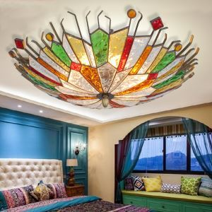 European Style Colorful Glaze Lampshade Iron Material 6 Lights Flush Mount
