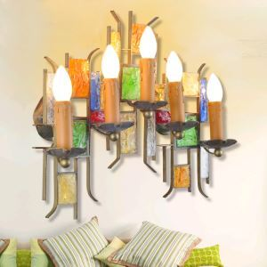European Style Colorful Glaze Lampshade Iron Material 5 Lights Wall Light