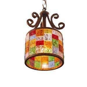 European Style Colorful Glaze Lampshade Iron Material Pendant Light Diameter 25cm Lampshade