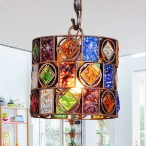 European Style Colorful Glaze Lampshade Iron Material Fish Line Shape Pendant Light