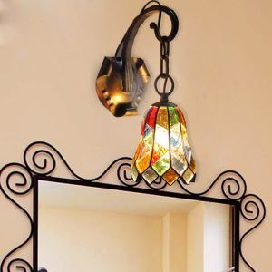 European Style Colorful Glaze Lampshade Iron Material Wall Light
