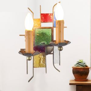European Style Colorful Sconce Glaze Lampshade Iron Material 2 Lights Wall Light