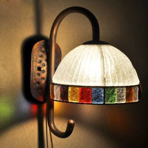 European Style Colorful Sconce Sconce Glaze Lampshade Iron Material Wall Light