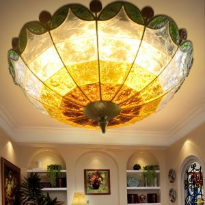 European Style Colorful Glaze Lampshade Iron Material 3 Lights Flush Mount