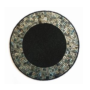 Handmade Beaded Black Shell Glass Bead High End Placemat