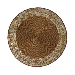 Handmade Beaded Coffee Shell Glass Bead High End Placemat
