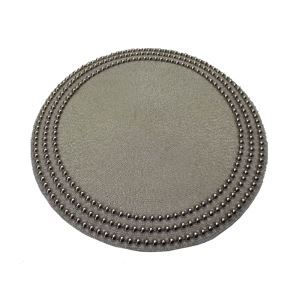 Handmade Beaded Plating Half Pearl Silver White Beading Placemat