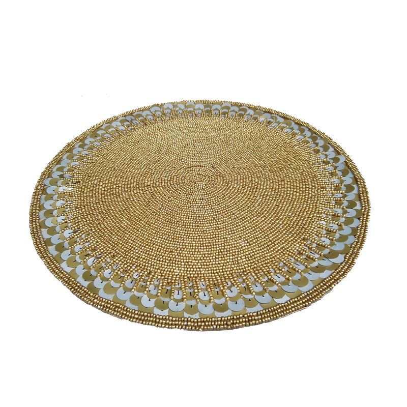 Home Textiles   Kitchen U0026 Table Linens   Placemats   Handmade Beaded Gold  Sequined Glass Beads