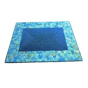 Handmade Beaded Blue Glass Bead Shell Edge High End Luxury Rectangle Placemat