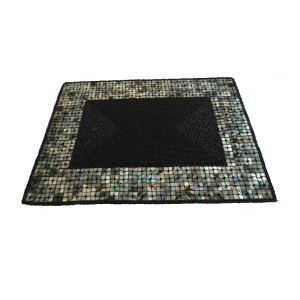 Handmade Beaded Black Glass Bead Shell Edge High End Luxury Rectangle Placemat