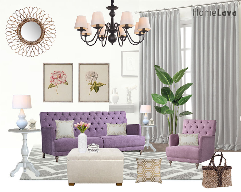 living room with purple sofa
