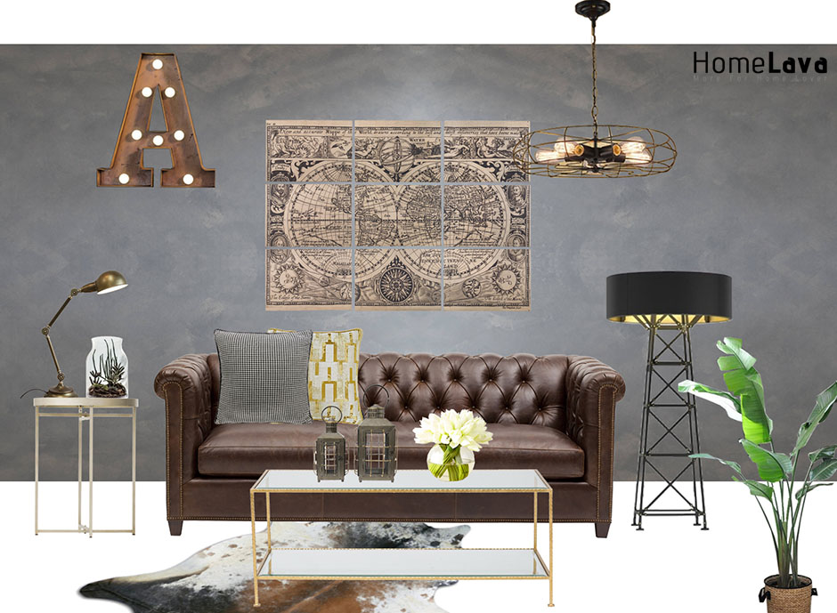 luxury industria living room
