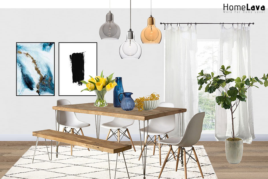 A modern dining room with white walls