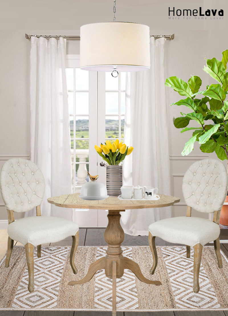 A transitional dining room