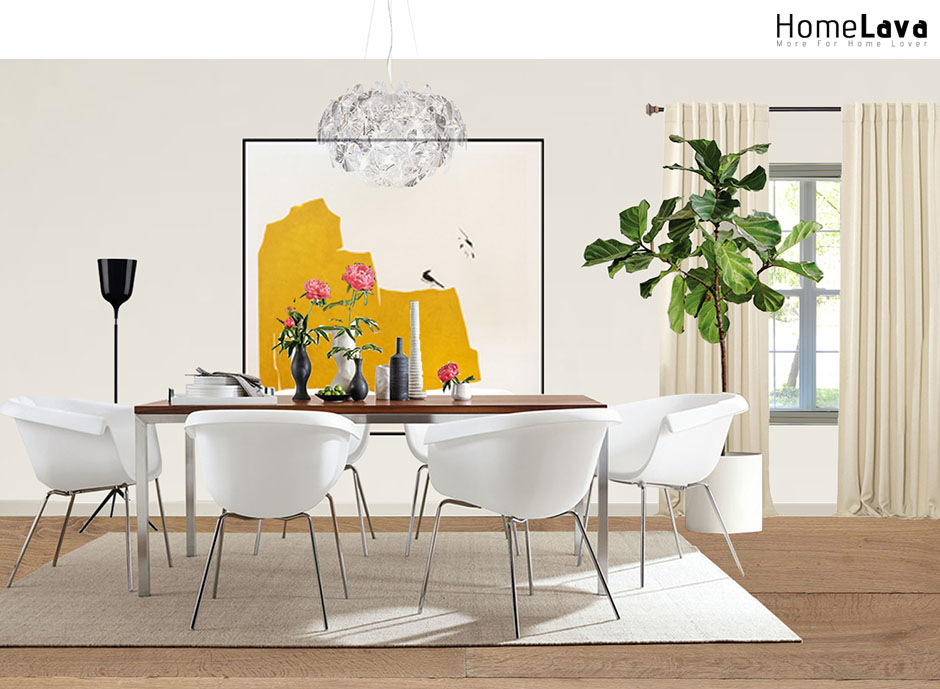 Example of a trendy dining room design
