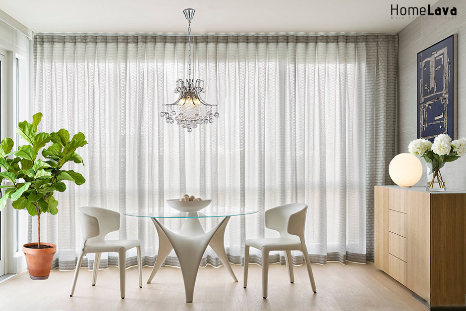 Dining room with floor to ceiling windows