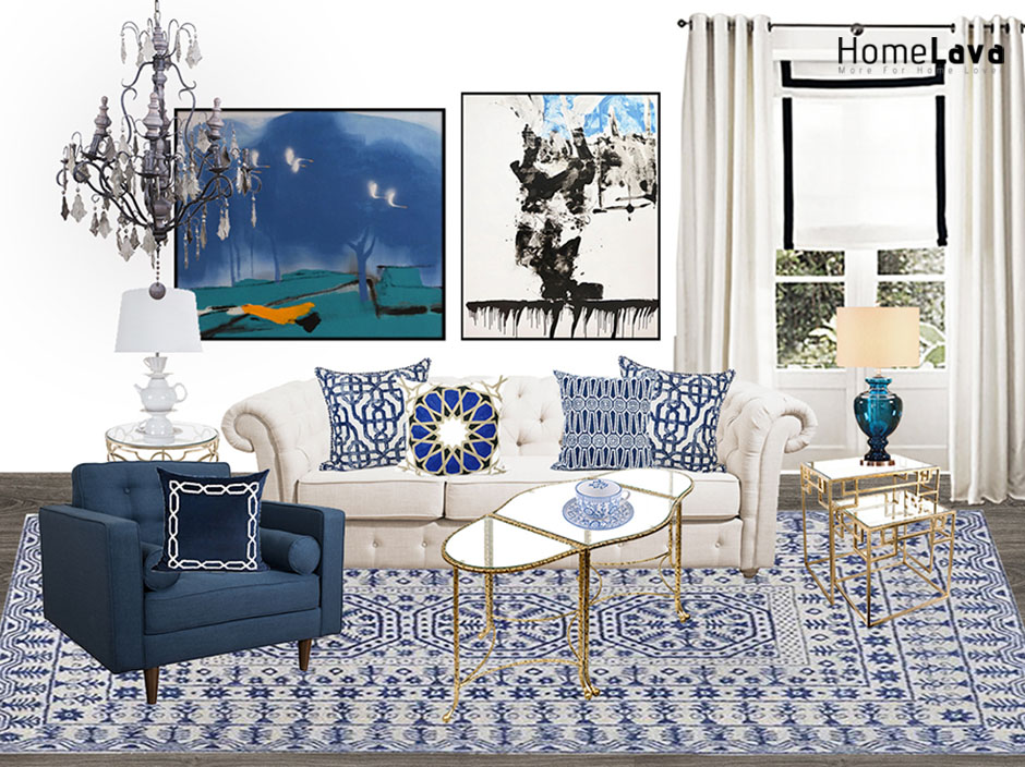 Blue and white porcelain style living room