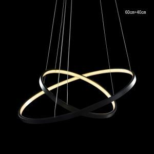 Modern Simple LED Pendant Light Aluminum Black Decorative Light 2 Circles 60+40cm Energy Saving