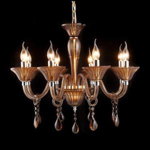 Modern Simple Crystal Chandelier Easy Socket Type Installation 8 Lights Coffee