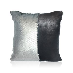 Mermaid Two Colors Sequins Magic DIY Inverted Flip Change Color Pillow Cover Holiday Car KTV Night Club Bar Pillow Cover Grey + Black