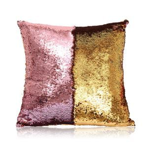 Mermaid Two Colors Sequins Magic DIY Inverted Flip Change Color Pillow Cover Holiday Car KTV Night Club Bar Pillow Cover Pink + Gold