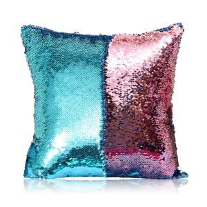 Mermaid Two Colors Sequins Magic DIY Inverted Flip Change Color Pillow Holiday Car KTV Night Club Bar Pillow Blue + Pink