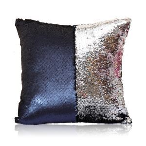 Mermaid Two Colors Sequins Magic DIY Inverted Flip Change Color Pillow Cover Holiday Car KTV Night Club Bar Pillow Cover Navy + Silver