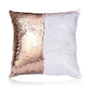 Mermaid Two Colors Sequins Inverted Flip Change Color Pillow Cover Champagne + White