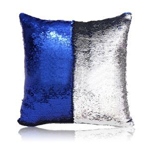 Mermaid Two Colors Sequins Magic DIY Inverted Flip Change Color Pillow Holiday Car KTV Night Club Bar Pillow Sapphire + Silver