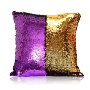 Mermaid Two Colors Sequins Magic DIY Inverted Flip Change Color Pillow Cover Holiday Car KTV Night Club Bar Pillow Cover Purple + Gold