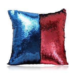 Mermaid Two Colors Sequins Magic DIY Inverted Flip Change Color Pillow Cover Holiday Car KTV Night Club Bar Pillow Cover Blue + Red