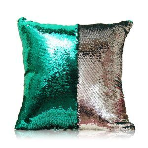 Mermaid Two Colors Sequins Magic DIY Inverted Flip Change Color Pillow Cover Holiday Car KTV Night Club Bar Pillow Cover Malachite Green + Silver