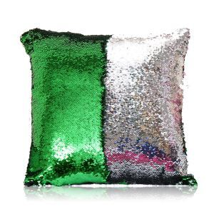 Mermaid Two Colors Sequins Magic DIY Inverted Flip Change Color Pillow Cover Holiday Car KTV Night Club Bar Pillow Cover Green + Silver