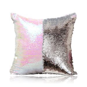 Mermaid Two Colors Sequins Magic DIY Inverted Flip Change Color Pillow Cover Holiday Car KTV Night Club Bar Pillow Cover Magic White + Silver