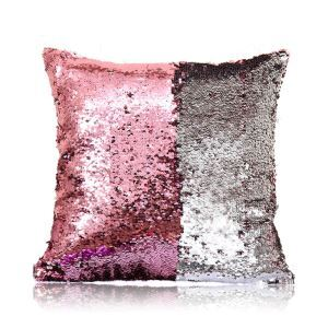 Mermaid Two Colors Sequins Magic DIY Inverted Flip Change Color Pillow Cover Holiday Car KTV Night Club Bar Pillow Cover Pink + Silver