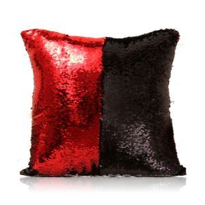 Mermaid Two Colors Sequins Magic DIY Inverted Flip Change Color Pillow Cover Holiday Car KTV Night Club Bar Pillow Cover Red + Black