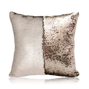 Mermaid Two Colors Sequins Magic DIY Inverted Flip Change Color Pillow Cover Holiday Car KTV Night Club Bar Pillow Cover Matte Champagne + Light Gold