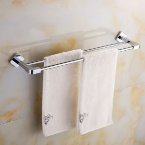 Modern Simple Style Bathroom Products Bathroom Accessories Copper Art Chrome Color Double Rod Towel Bar