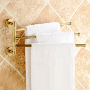 European Retro Bathroom Products Bathroom Accessories Copper Art Rotate Three-bar Towel Bar