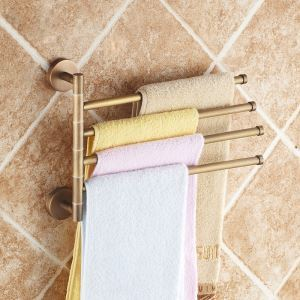 European Retro Bathroom Products Bathroom Accessories Copper Art Rotate Four-bar Towel Bar