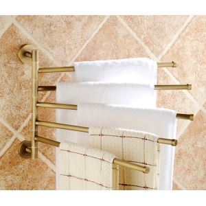European Retro Bathroom Products Bathroom Accessories Copper Art Rotate Five-bar Towel Bar