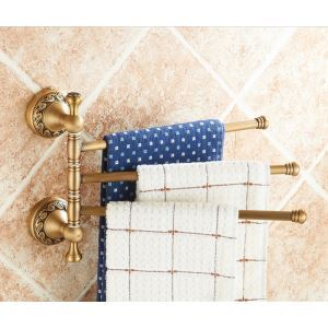 European Retro Bathroom Products Bathroom Accessories Copper Art Carving Pattern Rotate Three-bar Towel Bar