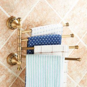 European Retro Bathroom Products Bathroom Accessories Copper Art Carving Pattern Rotate Four-bar Towel Bar